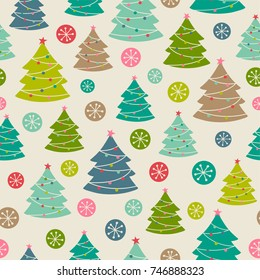 Hand drawn christmas tree seamless pattern background