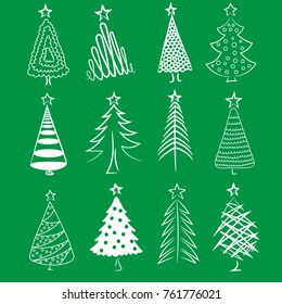 Hand drawn Christmas trees set. Christmas collection of decorative trees. Doodles and sketches. Vector illustration