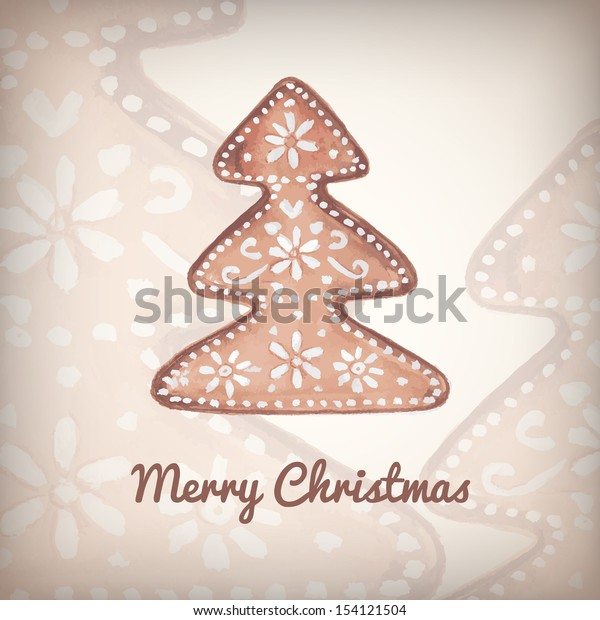 Hand drawn christmas vector illustration template with sample text
