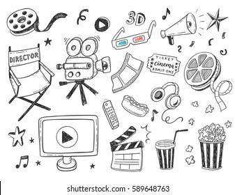 Hand drawn Cinema doodle icons set