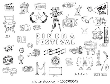 Hand Drawn Cinema Objects Set. Collection Doodles Elements of Objects and Symbols on the Movie and Filmmaking Theme. Cinematography tools and equipment.  Black and White illustration.