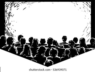 Hand drawn cinema screen with audience in the screen light. Perfect for adding your picture and text.