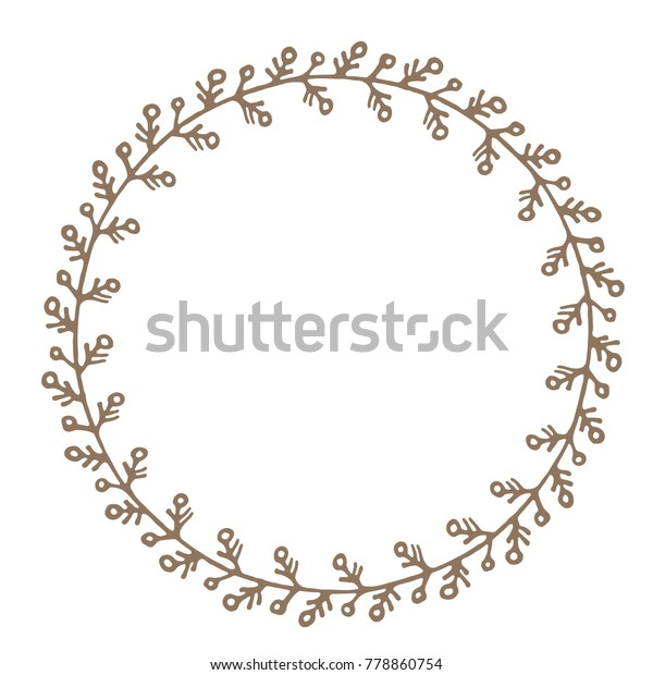 Hand Drawn Circle Floral Border Isolated Stock Vector