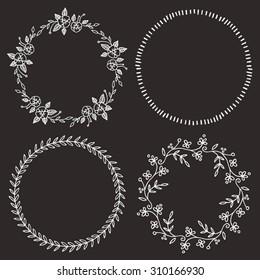 Hand Drawn Circle Frames Decorative Borders