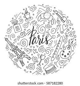 The hand drawn circle of french and Paris symbols. Easy to edit. Perfect for background or some souvenir products.