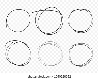 Hand drawn circle line sketch on transparent background in vector