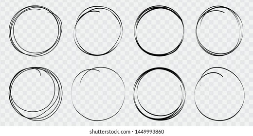 Hand drawn circle line sketch set. Round vector fields of writing, circles for messages painted with pen or pencil. Design note. Doodle, bubble. Vector illustration.