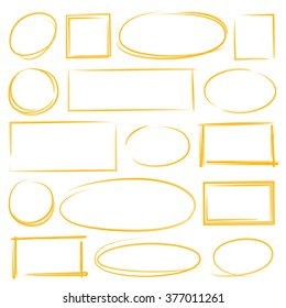 hand drawn circle and rectangle marker elements, frames