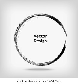 Hand drawn circle shape. Label, logo design element. Brush abstract wave.  Vector illustration.