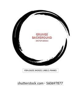 Hand drawn circle shape. label, logo design element. Brush abstract wave. Black enso zen symbol. Vector illustration.