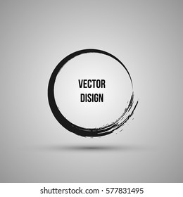 Hand drawn circle shape. Label, logo design element, frame. Brush abstract wave. Vector illustration