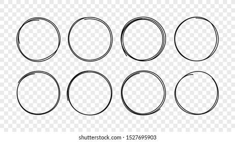 Hand drawn circle sketch frame set. Elements for concept design. Doodle style.