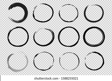 Hand drawn circle sketch frame set. Elements for concept design. Doodle style.