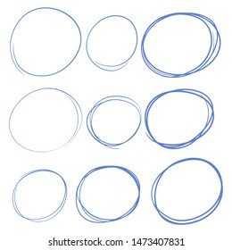Hand drawn circles set, different framesm bubbles. Doodle and sketch style.
