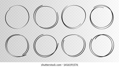 Hand drawn circles sketch frame super set. Rounds scribble line circles. Vector illustrations.