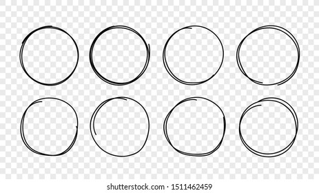Hand drawn circles sketch frame set. Vector rounds scribble line circles isolated on transparent background.