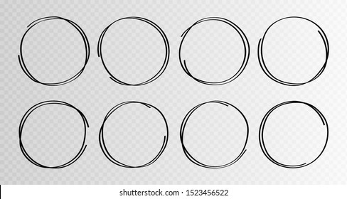 Hand drawn circles sketch frame super set. Rounds scribble line circles. Vector illustrations