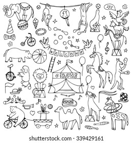 Hand drawn circus set. Vector illustration with hand drawn doodle circus animals and objects