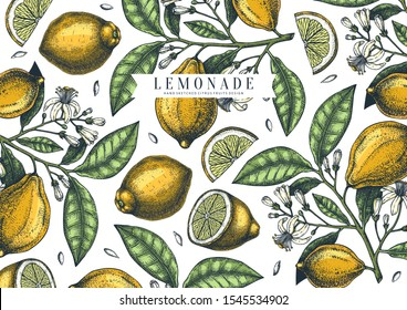 Hand drawn citrus fruits background. Vector lemons design with fruits, flowers, seeds, leaves sketches. Perfect for banners, greeting cards, invitations, prints. Lemon outlines template