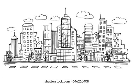 Hand drawn City Sketch for your design,Drawn in black ink on white background