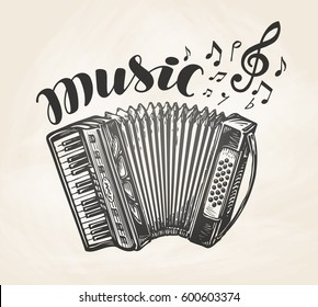 Hand drawn classic accordion. Vintage musical instrument. Music symbol, vector illustration
