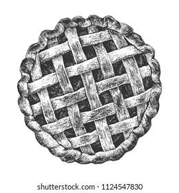 Hand drawn classic apple pie. Top View homemade tart.