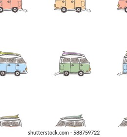 hand drawn classic hippie vans in retro style seamless pattern.vintage vector illustration.