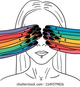 Hand Drawn closed eyes with hand and rainbow fingers card. Illustrations Drawing Vector Sketch for textile, print, postcard, text, invitation, poster, t-shirt, design,