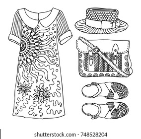Hand drawn clothes set. Fashion tips. Sketch for anti-stress adult coloring book in zen-tangle style. Vector illustration  for coloring page. Vector illustration  for coloring page.