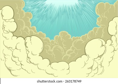 Hand drawn cloud cover.8 EPS