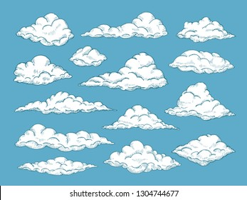 HAND DRAWN CLOUDS. Pencil sketch sky cloudscape. Outline sketching cloud vintage vector engraved background. Cloudscape drawing, atmosphere doodle sketchy clouds illustration