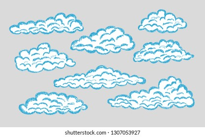 Hand drawn clouds. Pencil sketch sky cloudscape. Outline sketching cloud vintage vector engraved background. Cloudscape drawing, atmosphere doodle sketchy clouds illustration - Vector eps 10