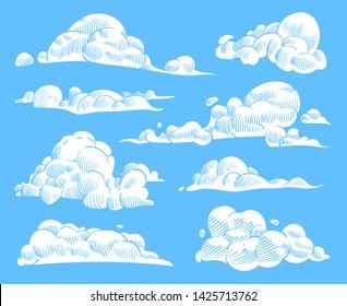 Hand drawn clouds. Sketch cloudy sky, vintage engraved curled cloud. Doodle nature heaven, outline weather symbols creative nubes pencil texture vector set