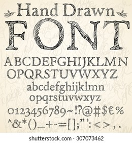 Hand drawn coal or pencil sketched font: letters, numbers and symbols on a blackboard background, vector illustration