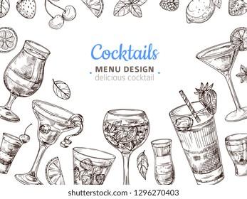 Hand drawn cocktail background. Engraving cocktails alcoholic drinks vintage vector illustration