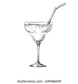 Hand drawn cocktail isolated on white background. Vector illustration of a sketch style.