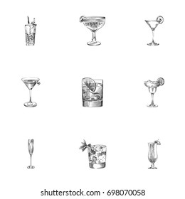 Hand Drawn Cocktail Sketches Set. Collection Of Old Fashioned, Cocktail, Beverage And Other Sketch Elements.