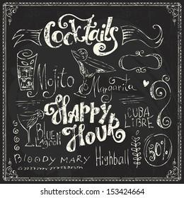 Hand drawn cocktails doodles. Chalk lettering