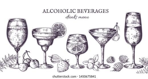 Hand drawn cocktails. Vintage alcoholic menu sketch, liquor beverages and lemonades. Vector illustrations isolated tropical bar drinks in doodle line