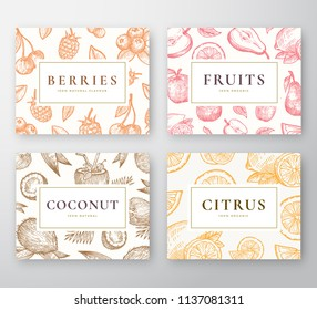 Hand Drawn Coconut, Citrus, Berries and fruits Cards Set. Abstract Vector Sketch Backgrounds Collection with Classy Retro Typography. Coconuts, Cherries, Lemon, Apple and Pear Sketches. Isolated.