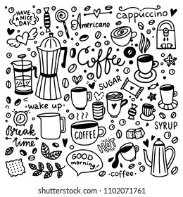 Hand drawn coffee icons. Cafe set with coffee cups and sweet desserts