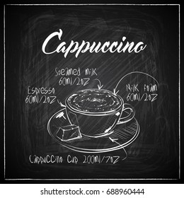 Hand drawn coffee illustration on a chalkboard background. Vector collection.