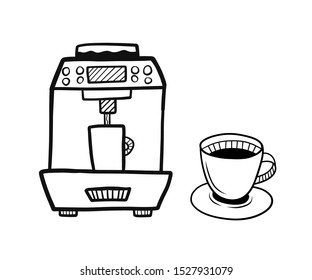 Hand drawn coffee machine with glass of coffee isolated on a white. Sketch. Coffee concept. Vector illustration.
