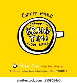 Hand drawn coffee poster illustration - vector