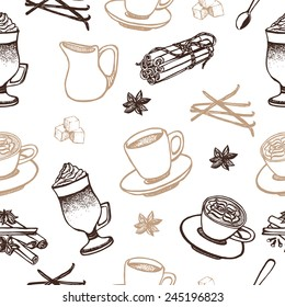 Hand drawn coffee seamless pattern.Espresso, latte, cappucino, spoon, creamer, vanilla, cinnamon