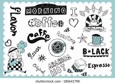 Hand drawn coffee set A
