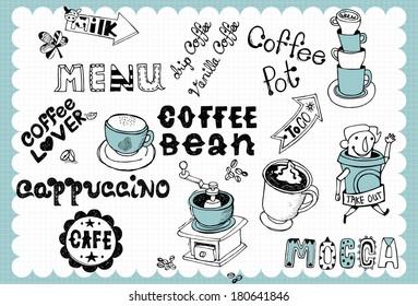 Hand drawn coffee set B
