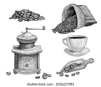 Hand drawn coffee set: coffee beans, bag or sack and coffee grinder. Scoop with grains and a cup. For label or menu design