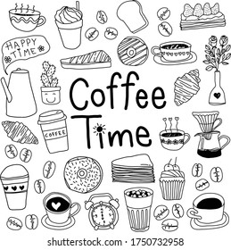 Hand drawn in coffee time concept in doodle art style, vector illustration on white background