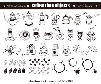 Hand drawn coffee time objects collection. Doodle coffee pots, cups and bags isolated on white background. Vector illustration of coffee icons for cafe and restaurant menu design.